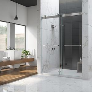 Beautiful modern bathroom with glass sliding shower door